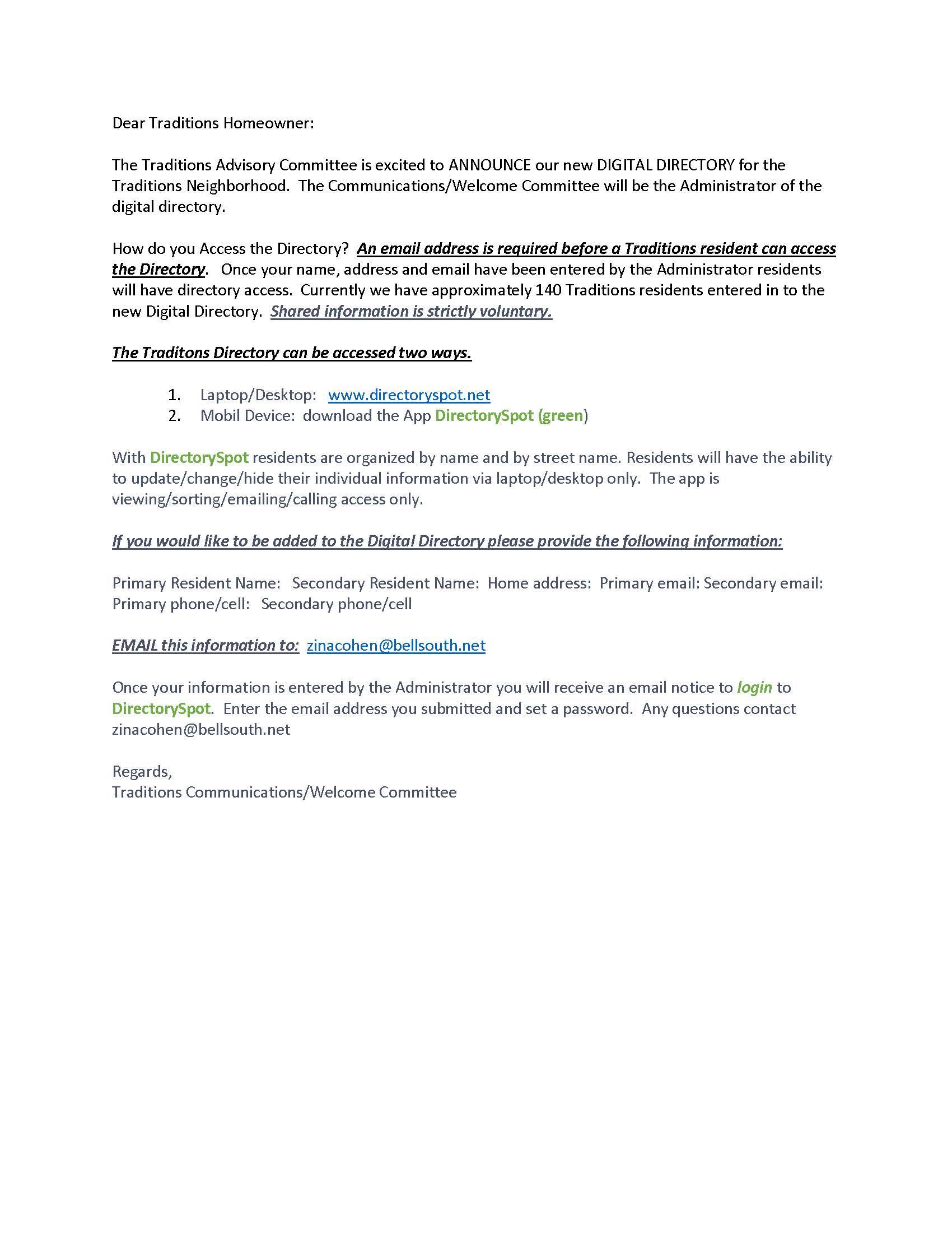 DirectorySpot Announcement