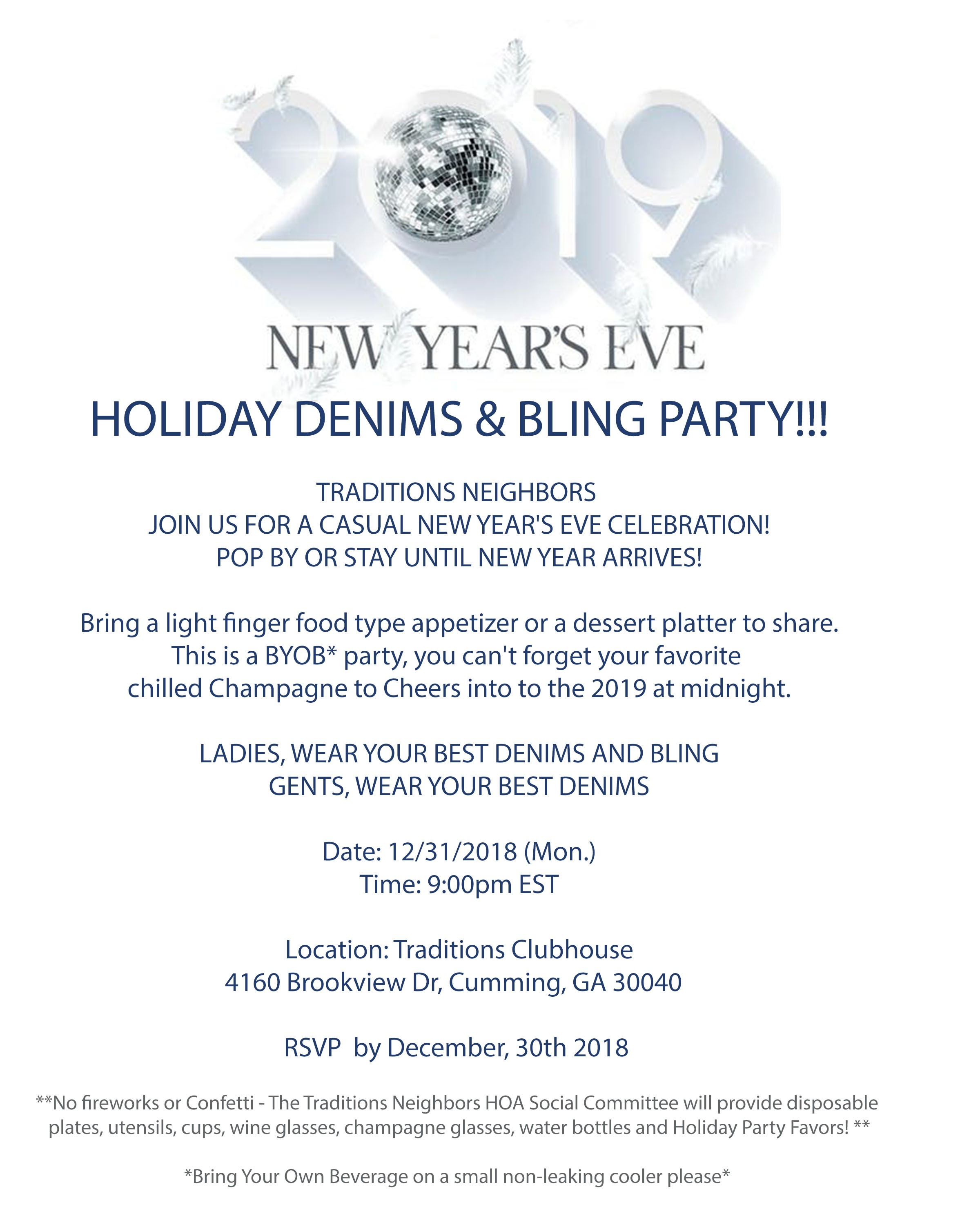 New Year's Eve Holiday Denims & Bling Party